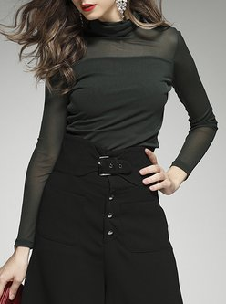 Casual Solid Polyester Long Sleeved Top