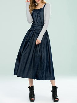 Dark Blue Statement Solid Denim Skater Overall Wrap Skirt