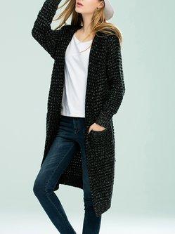 Deep Gray Casual Plain Wool Blend Hoodie Cardigan