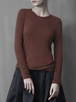 Coffee Crew Neck Plain Wool Blend Knitted Long Sleeved Top