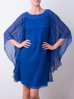 Royal Blue Solid Crew Neck Chiffon Elegant Midi Dress