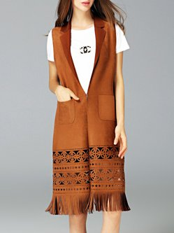 Brown Lapel Pierced Pockets Solid Casual Vest