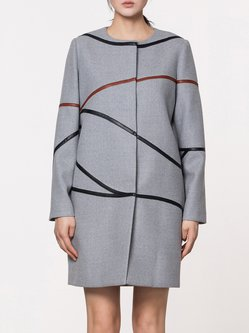Gray Wool Blend Simple Cocoon Paneled Coat