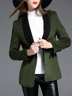 Dark Green Plain Wool Blend Elegant Blazer