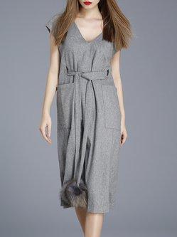 Pockets Girly Wool Blend H-line V Neck Midi Dress with Belt