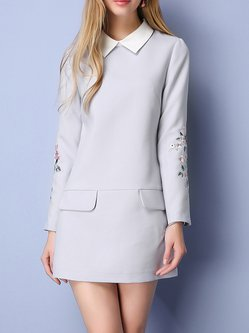 Light Gray Embroidered Long Sleeve Mini Dress