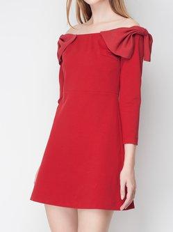 Off Shoulder 3/4 Sleeve Girly Bow Mini Dress
