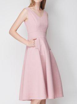 Ribbed Zipper Sleeveless A-line V Neck Plain Midi Dress