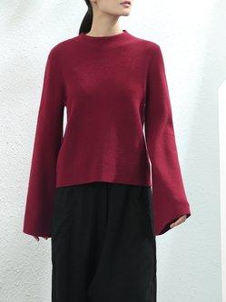 Burgundy Flared Sleeve Turtleneck Knitted Sweater