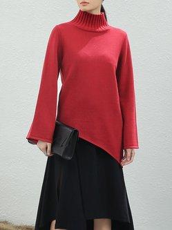 Red Asymmetric Cotton-blend Turtleneck Sweater