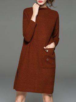 Elegant Pockets Stand Collar Wool Blend Sweater Dress