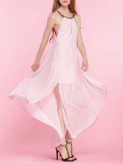 Pink Backless Swing Slit Sexy Sleeveless Halter Maxi Dress