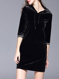Black H-line Girly Hoodie Velvet Mini Dress