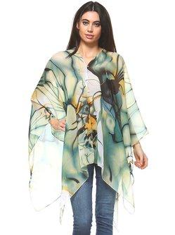 Aqua Asymmetrical Printed Casual Kimono