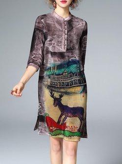 Multicolor Silk 3/4 Sleeve Animal Print Midi Dress