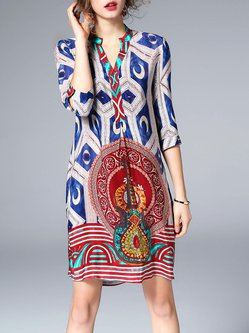 Multicolor Silk Printed Boho Midi Dress