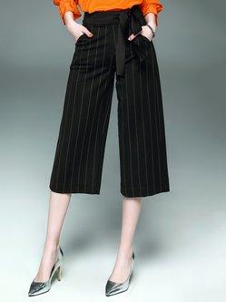 Black Stripes Cotton-blend Casual Wide Leg Pant