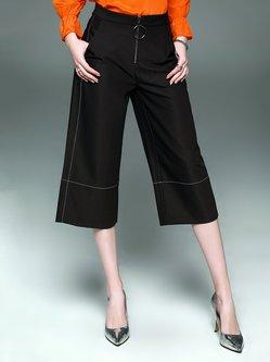 Black Cotton-blend Solid Casual Paneled Wide Leg Pant