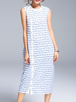 Light Blue Stripes Printed Crew Neck Sleeveless Midi Dress