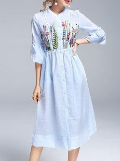 Light Blue Cotton-blend Embroidered Casual A-line Midi Dress