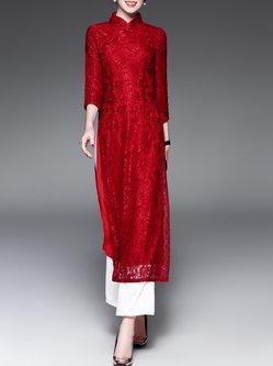 Slit 3/4 Sleeve Two Piece Guipure Lace Wide Leg Vintage Midi Dress