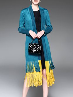 Blue Fringed A-line Color-block Long Sleeve Casual Coat