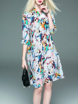 Shift Casual Stand Collar Printed 3/4 Sleeve Silk Midi Dress with Belt