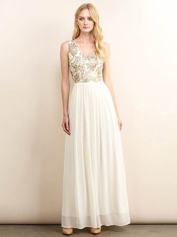 Cream Sequin Embroidery V Neck Elegant Evening Dress