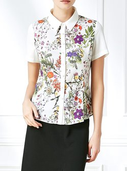 Polyester Short Sleeve Casual Shirt Collar Blouse