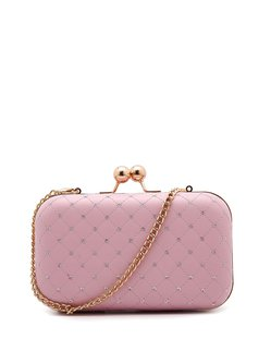 Pink Solid Sequin Evening Snap Clutch with Gold-tone Hardware