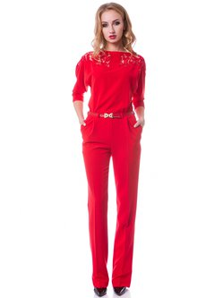 Red Pockets 3/4 Sleeve Slash Neck Jumpsuit with Belt