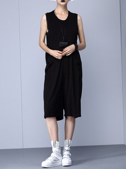 Black Crew Neck Printed Sleeveless H-line Jumpsuit