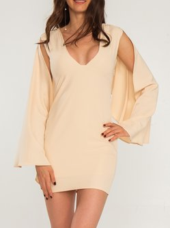 Beige Plunging Neck Sexy Ruffled Bodycon Party Dress