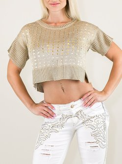 Golden Knitted H-line Short Sleeve Sequin Crop Sweater