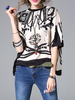 Apricot Batwing Abstract Tops