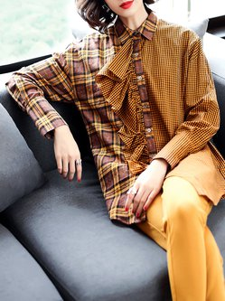 Plus Size Asymmetric Paneled Shirt Collar Ruffled Casual Checkered/Plaid Tunic
