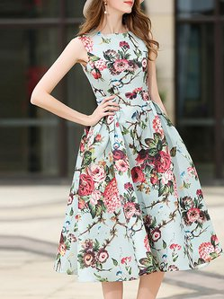Sweet Floral Printed Sleeveless Crew Neck A Line Swing Dress
