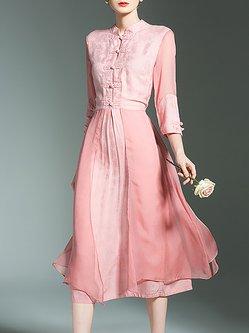 Elegant Embossed Stand Collar 3/4 Sleeve Flowing Chiffon Dress