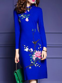 Elegant Beaded Stand Collar Embroidered Wool blend Plus Size Sheath Dress