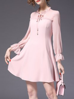Plus Size Tie-neck Sweet Bell Sleeve See-through Look Paneled Ruffled Pink Dress