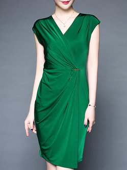 OL Elegant Sheath Wrap Midi Dress