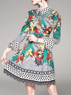 Bell Sleeve Floral Printed Paneled Guipure lace A-line Midi Dress
