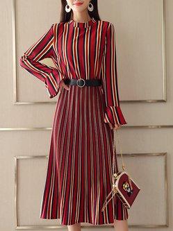 Bell Sleeve Stripes Elegant A-line Dress with Belt