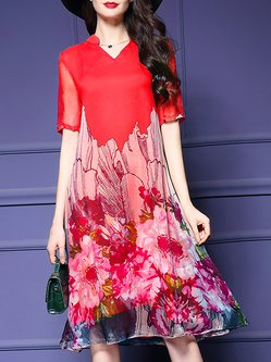Elegant V Neck Floral Printed Chiffon Shift Midi Dress