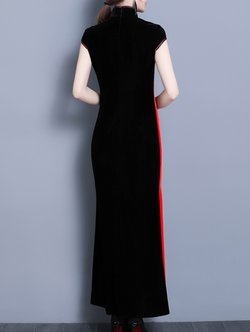 Stand Collar Evening Fl Embroidered Color Block Vintage Maxi Dress