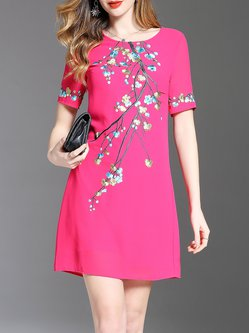 Elegant Vintage Embroidered Shift Midi Dress