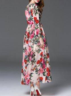 Elegant Boho Printed A-line Maxi Dress