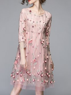 Applique Organza A-line Sweet Midi Dress