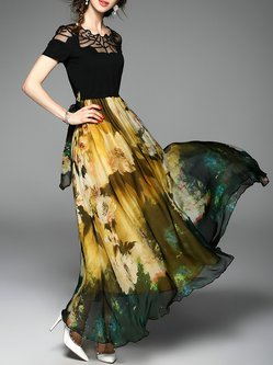 Printed Chiffon Paneled See-through Look Embroidered Holiday Swing Dress