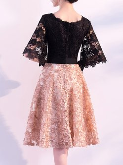 Guipure lace Bow Prom Dress